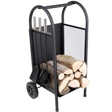Chariot à bois de chauffage cheminée panier avec pelle balai et tisonnier