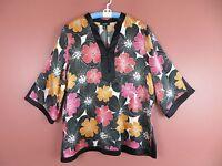 TB04101- ALFANI Woman Silk 3/4 Sleeve Blouse Multi-Color Floral Black Trim 18W