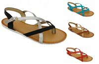 WOMENS STRAPPY ROMAN GLADIATOR OPEN TOES THONG SANDALS  6 7 8 9 10 11