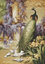 WALL JACQ. WOVEN TAPESTRY Peacock & Doves in Floral Garden - Bidau Art LANDSCAPE