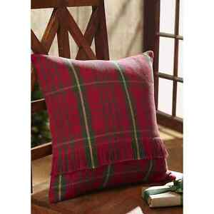 """JASPER WOVEN ACCENT PILLOW COVER RED GREEN PLAID16X16"""" FRINGE ON FRONT"""