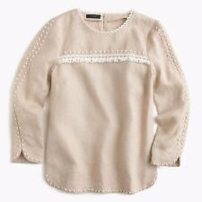 J.Crew beige natural linen blouse top shirt boho bohemian sz. 00 / XXS