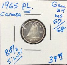 1965 Proof-Like Canadian Silver Dime in GEM BU++++ Condition