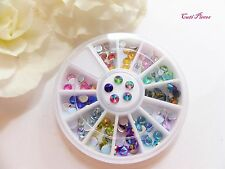 "3D Nail Art ""Mix AB Rhinestones"" Holographic Wheel Pot Flat Back Round Gem Tips"