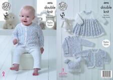 King Cole 4896 Knitting Pattern Baby Dress Cardigan Sweater Hat Cherish Dash DK