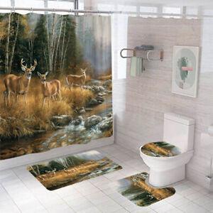Deer Shower Curtain Set Bathroom Rug Thick Non-Slip Toilet Lid Cover Bath Mat