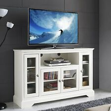 Walker Edison 52 inch Highboy Style Wood TV Stand In White Finish W52C32WH New