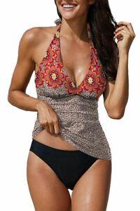 Cali Chic Women Swimwear Tankini Celebrity Floral Leopard Halter Camisole and Pa