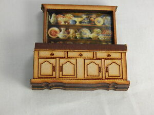 """Dollhouse Miniature 1/4"""" Scale 1:48  Dining Kitchen Buffet Cabinet #Z299"""