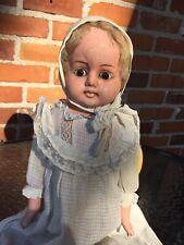 Antique Doll Papier-Mâché Wax Over Glass Eyes