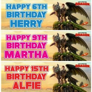 2 Personalised How To Train Dragon Birthday Party Celebration Banners Posters