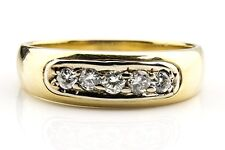 Men's .33 ct F/SI2-SI1 GIA Spec Diamond Band Ring in 14k Solid Yellow Gold