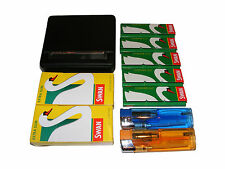ROLLING MACHINE TIN, 5 CIGARETTE PAPERS, 2 FILTERS + 2 LIGHTERS KIT - BRAND NEW