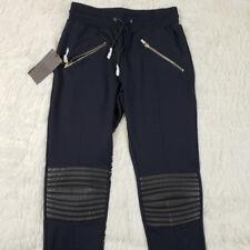 NWT Zara Man Biker Jogging Pants Faux Leather Knee Padding Zipper Pocket Size S