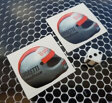 x 2 mario andretti Helmet Stickers F1  Lotus,March, Ferrari, Williams Formula 1