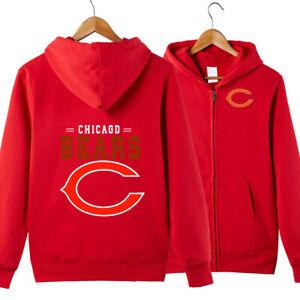 Chicago Bears Fan Hoodie Zipper Sweatshirt Sport Casual Hooded Jacket Activewear