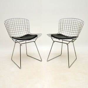 PAIR OF RETRO WIRE CHAIRS BY HARRY BERTOIA VINTAGE 1960's