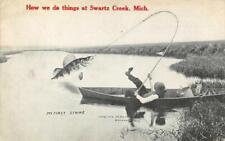 SWARTZ CREEK, MI Fishing Exaggeration Fisherman 1911 Vintage Postcard