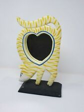 Indonesian / Balinese Handcrafted Wooden Yellow Striped Cat Heart Mirror