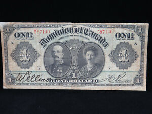 1911 $1 Dollar Dominion of Canada Banknote 597140 Green Line A DC-18a VG Grade