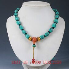 Chinese Old turquoise & Beeswax Handwork Decoration Necklaces XL015