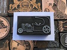 Antique Vtg Dune Buggy Hot Rod Car Letterpress Print Type Cut Ornament Block