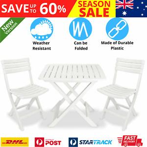 Stylish Folding Bistro Set 3 Pcs White Plastic Outdoor Balcony Dining Furniture