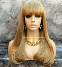 Long Straight With Bangs Golden Blonde Full Synthetic Wig Hair Piece #16 NWT