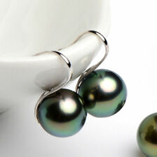 10 mm Tahitian Black South Sea Shell Pearl Silver Hook Dangle Earrings
