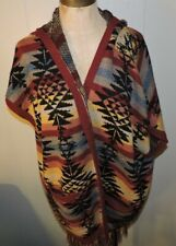 American Eagle Aztec Fringe Sweater Cardigan Poncho Womens Medium Cozy Boho