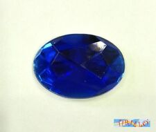 CUCITO - 10 strass cabochon ovali in plexiglass 18x25 mm - Blu sapphire