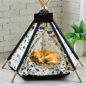 Folding Pet Teepee Dog Cat Bed Canvas Tent House Kennel Tent with Thick Cushion