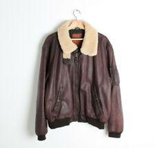 Vintage Golden Bear B-15 Leather Bomber Flight Jacket Sherpa Collar Sz 46 / XL