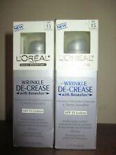 2 L'Oreal Wrinkle De-Crease/ Corrector & Dermo-Smoother SPF15 Moisturizer 1.7 oz