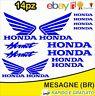Kit 14pz. adesivi replica Honda Hornet moto casco colore Blu