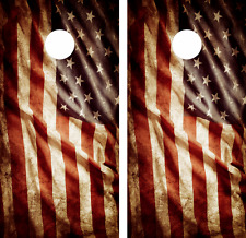 American Flag Vintage look Cornhole Board Skin Wrap Decal Set Vinyl -LAMINATED