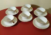 VILLEROY ET BOCH 6 tasses à café et soucoupes Mettlach ivoire liseré doré 1945