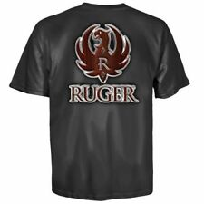 Ruger Nickel & Rosewood Logo Pistol Grip Short Sleeve T Shirt Charcoal Size M