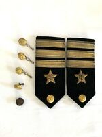 Vintage N.S. Meyer New York Epaulettes Buttons Insignia 3 Stripe WWII