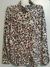 ZENERGY By CHICOS WOMENS L SIZE 2 LIGHTWEIGHT W ZIPPERED JACKET Cheetah print