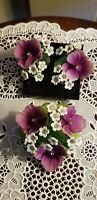 VINTAGE VENDOME RHINESTONES ENAMEL FLOWERS PIN BROOCH WITH MATCHING EARRINGS SET