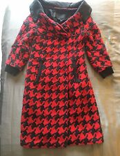 DONNA KARAN BLACK COLLECTION LABEL Wool Cashmere Coat Houndstooth Red Sz 2
