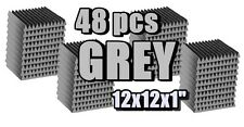48 GREY Acoustic Wedge Sound Recording Studio Foam Wall Tile12x12x1 for musician