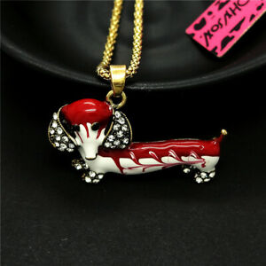 Betsey Johnson Red Puppy Dog Enamel Cute Dachshund Pendant Chain Necklace