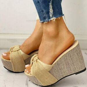 Women Summer Platform Sandals Bow Tie Wedges High Heels Slip On Shoes Flip Flops