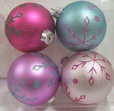 4 PINK AQUA LILAC HOT PINK GLITTER SNOWFLAKE CHRISTMAS ORNAMENTS DECORATION