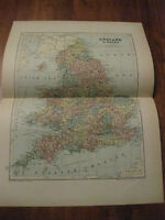 Nice Antique Map of England & Wales c. 1895 Johnston