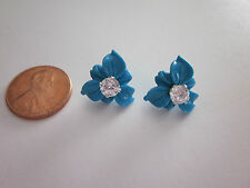 Cz Earring Jacket Earrings New Petite Turquoise Flower And