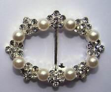 10 x Diamante Ribbon Sliders Luxury Oval 35mm 'Grade A' Rhinestone Pearl  Buckle