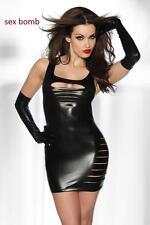 SEXY abito vestito nero lucido+tanga taglia XS/M (38 - 42) fashion GLAMOUR !